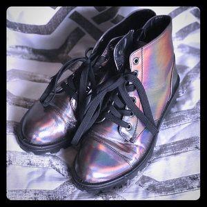 Metallic combat boots
